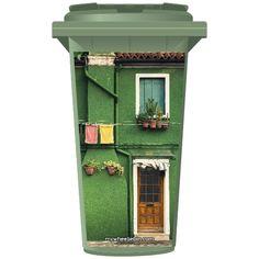 Green Mediterranean Style House Wheelie Bin Sticker Panel