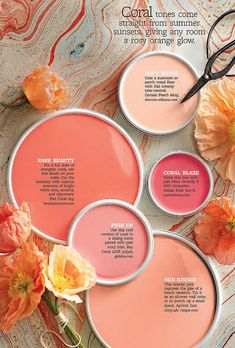 Yes, coral! Coral is definitely in the palette. Colour Schemes, Color Combos, Paint Shades, Garden Features, Coral Pink, Fan Coral, Purple, Blush Pink, Color Pallets