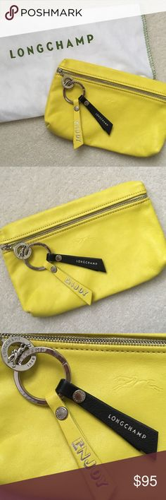 """Longchamp Leather Clutch Neon Yellow Leather Clutch   Great Condition - Used 3 Times   Amazing """"Going Out"""" Bag For All Your Things! Longchamp Bags Clutches & Wristlets"""
