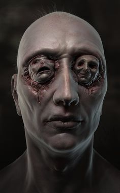 I think this would be an interesting mask. Consider taking a basic mask of a face. Cut the faces out of vinyl dolls and pop the eyes out. Glue them into the eyes of the mask. Peek out through the doll eye/mouth holes. Dark Fantasy Art, Dark Art, Creepy Art, Scary, Creepy Faces, Mago Tattoo, Horror Artwork, Arte Obscura, Macabre Art