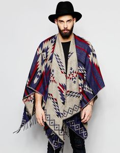Image 1 of Gregory's Festival Cape With Aztec Pattern In Blue Hipster Fashion, Boho Fashion, Mens Fashion, Fashion Outfits, Fashion Design, Fashion Trends, Dope Outfits, Coachella Men, Mens Poncho