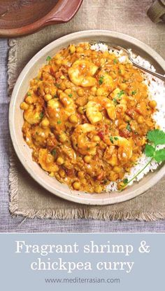 Fragrant shrimp and chickpea curryYou can find Curry shrimp and more on our website.Fragrant shrimp and chickpea curry Grilled Shrimp Recipes, Prawn Recipes, Curry Recipes, Fish Recipes, Seafood Recipes, Indian Food Recipes, Asian Recipes, Indian Shrimp Recipes, Asian Foods