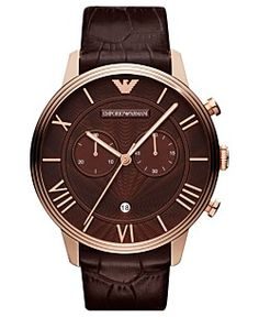 Emporio Armani Watch, Men's Chronograph Brown Croco Leather Strap 46mm AR1616