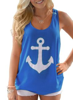 Women's Naval Anchor Sleeveless Back Bowknot Tank