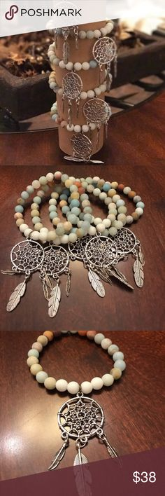 ✨SALE✨Dream Catcher Bracelet This stretchy Boho bracelet is made with matte agate beads and a dream catcher charm. Jewelry Bracelets