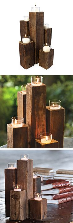 10 DIY Wooden Candle Holders To Add Rustic Charm This Fall DIY Wooden candle holders are an excellent way to show off your home decor. For years, candleholders have been utilized as the main centerpiece in homes. Decoration Evenementielle, Decorations, Deco Nature, Wooden Candle Holders, Wooden Tea Light Holder, Cheap Candle Holders, Scrap Wood Projects, 4x4 Wood Crafts, Wood Scraps