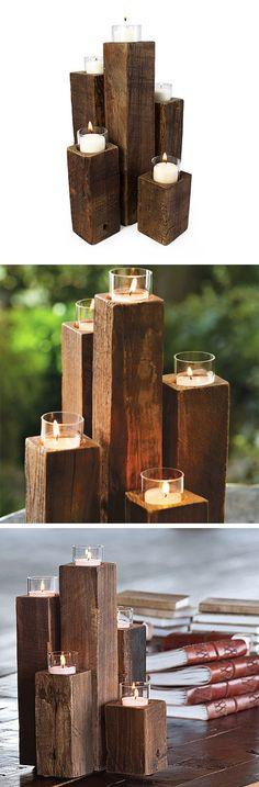 Wood Tealight Pillars | dotandbo.com