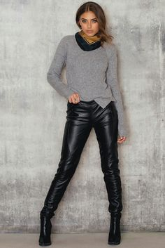 Leather pants ankle boots and sweater
