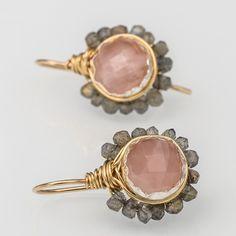 Rose Quartz Labradorite Flower Earrings