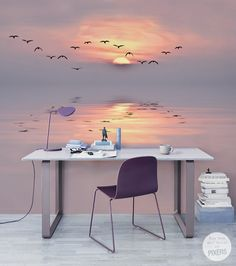 Fotomural Pastel Crepúsculo - inspiración fotomural, galería de interiores • PIXERS.es