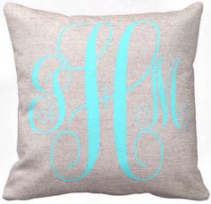 Monogram Pillow Cover Cotton and Burlap Pillow Cover Wedding Gift Bridesmaid Gift Neon White Turquoise Choose Your Color and Letters