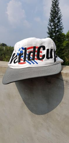 b2c060f4a7a Rare Vintage 90s Adidas WORLD CUP USA 94 Strap Adjustable Size Cap Hat    Dad Hat