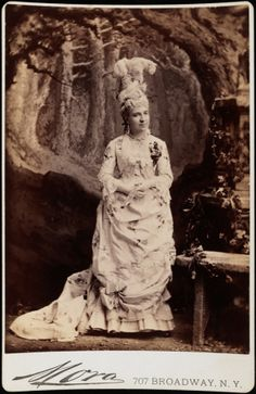 """""""Mora"""" the Gilded Age photographer, 707 Broadway, NYC. Pictured here: Mrs. James P. Kernochan at the Vanderbilt Ball, c.1883."""