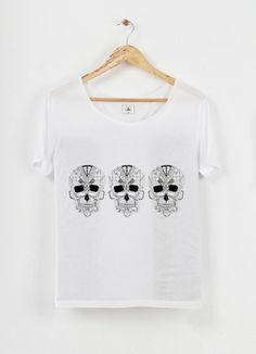 Tshirt col échancré modal Trois petites têtes by Trois petits points on Triaaangles