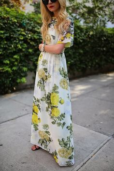 yellow and white #florals #yellow #white #dress