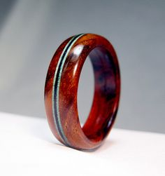 Wood Ring with Pinstripes Triple Reinforced by Endeavours on Etsy