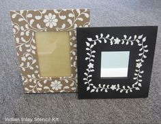 Stencil tips to easily paint a picture frame using the Indian Inlay Kit from Cutting Edge Stencils. http://www.cuttingedgestencils.com/indian-inlay-stencil-furniture.html #Steps #Painting #PictureFrame #Stencils #howtostencil