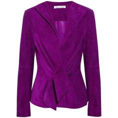 Oscar de la Renta Suede jacket ❤ liked on Polyvore featuring outerwear, jackets, open front jacket, suede jacket, suede leather jacket, purple jacket and oscar de la renta