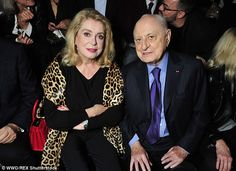 FROW:Sitting front row alongside Pierre Berger, former partner of Yves Saint Laurent, Catherine looked in her element as she took in the fashion on the catwalk