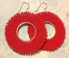 Red Hoop Earrings Seed Bead Hoops Beadwork Jewelry by WorkofHeart