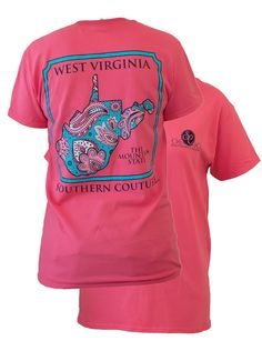 Southern Couture West Virginia Preppy Paisley State Pattern Mountain State Girlie Bright T Shirt