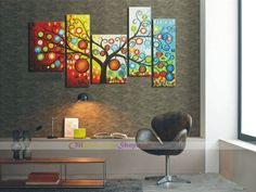 365 Days of Happiness Tree Oil Painting - Set of 5