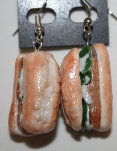 Chicken Sandwich Earrings  Realistic Fake Food by RainbowIceOutlet, $15.00