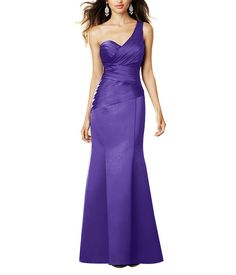 DescriptionAlfred Angelo Style 7291LFull length bridesmaid dressOne shoulder neckline, sweetheart crossover bodiceNatural waist, trumpet a-line skirtSatin