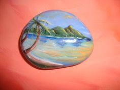 Tropics Rock Hand Painted on a Rock