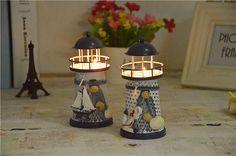 Hot sale metal mediterranean lighthouse European-style decorative candle holder