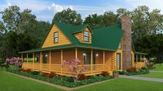 """""""Nice mid-sized log home for a growing or large family, the wrap-around deck hugs the 2325 sq. Blue Ridge which has 4 bedrooms, 3 baths and loads of charm. Log Cabin Home Kits, Log Home Plans, Log Cabin Homes, Cabin Plans, House Plans, Log Cabins, Little Log Cabin, Log Home Designs, Log Home Decorating"""