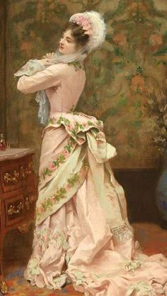 Toilette by Jules James Rougeron 1877 (detail). Vestidos Vintage, Vintage Gowns, Vintage Outfits, Victorian Gown, Victorian Fashion, Vintage Fashion, Historical Costume, Historical Clothing, Belle Epoque