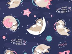 Space Sloth - not today - pattern navy by Ewa Brzozowska Baby Illustration, Space Illustration, Illustrations, Kids Patterns, Print Patterns, Cute Patterns Wallpaper, Night Aesthetic, Cute Doodles, Baby Design