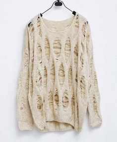 White Slouchy Knitted Jumpers with Cut Out Print