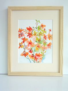 Orange Orchid Medley Watercolor Flowers by pineapplebaystudio