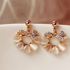 jewels earrings elegant opal rhinestone