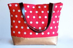 CRIMSON Red Leather Tote Bag  Vermilion Red Linen by dawnaparis, €55.00