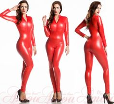 Gothic Punk Red Wetlook Shinny Faux Leather Catsuit Bodysuit Jumpsuit @Samantha p