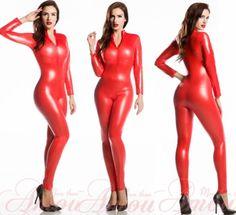 Gothic Punk Red Wetlook Shinny Faux Leather Catsuit Bodysuit Jumpsuit @Samantha p