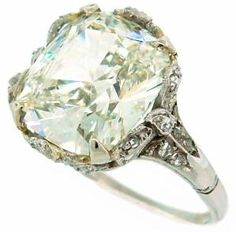 Cushion Cut Diamond Solitaire Ring  Circa 1930's by hester