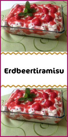 Erdbeertiramisu - Zutaten 500 g Erdbeeren 3 EL Zucker 250 g Mascarpone 250 g Magerquark 1 EL Zitronensaft 1 Pck. Easy Smoothie Recipes, Easy Smoothies, Healthy Dessert Recipes, Desserts For A Crowd, Party Desserts, Fall Desserts, Strawberry Tiramisu, Strawberry Smoothie, Cinnamon Cream Cheese Frosting