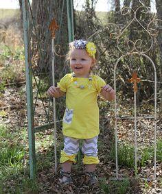 Look at this #zulilyfind! Yellow & Gray Zigzag Top & Capri Pants - Infant, Toddler & Girls by Diva Daze #zulilyfinds