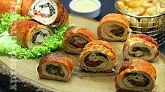 Rulada de pui cu ciuperci invelita in bacon | Adygio Kitchen Bacon, Starters, Recipies, Good Food, Party, Chicken, Ethnic Recipes, Kitchen, Knits