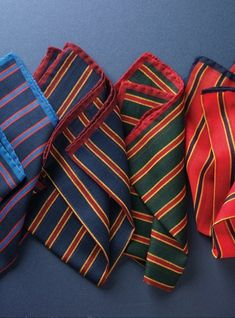 Wool and Cashmere Stripe Pocket Squares
