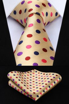 Gold With Pink, Red, Purple and Navy Blue Polka Dots Silk Men's Tie and Pocket Square Set Mens Suit Accessories, Fashion Accessories, Tie Styles, Tie And Pocket Square, Blue Polka Dots, Silk Ties, Plaid, Mens Fashion, Beige
