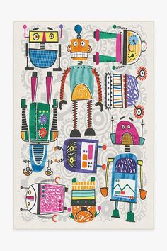 Our Robot Party Multicolor Rug is programmed for play with no assembly required. A silly sci-fi rug to instantly amp up the fun in any kid's space. Coral Rug, Pink Rug, Machine Washable Rugs, 8x10 Area Rugs, Black Rug, Simple Shapes, Art Plastique, Animals For Kids, Make Up