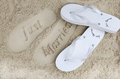 36bda985d614 Wearing these just married flip flops are a romantic way to leave your mark  on the sand! Available in black or white