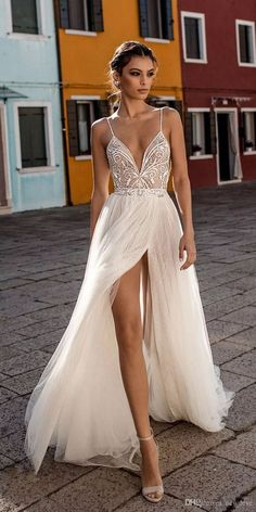 5f46a56cb397b Gali Karten 2019 Beach Wedding Dresses Side Split Spaghetti Sexy Illusion  Boho A-Line Wedding Dresses Pearls Backless Bohemian Bridal Gowns