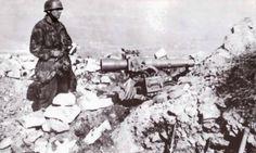 Germans paratrooper with a heavy gun in Crete 1941
