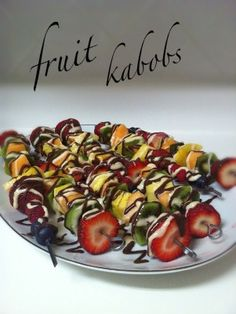 Fruit Kabobs drizzled in chocolate. Close but no fondue. Lol
